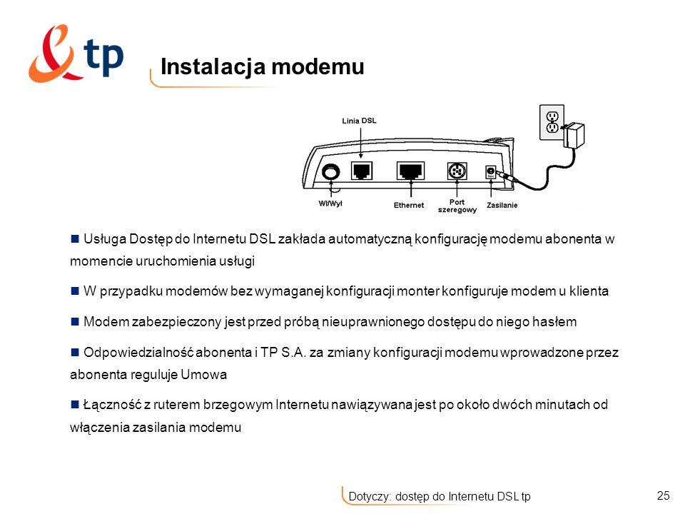 Instalacja modemu Usługa Dostęp do Internetu DSL zakłada automatyczną konfigurację modemu abonenta w momencie uruchomienia usługi.