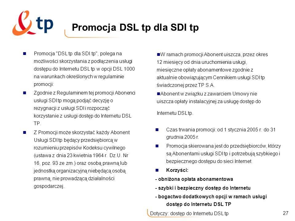 Promocja DSL tp dla SDI tp