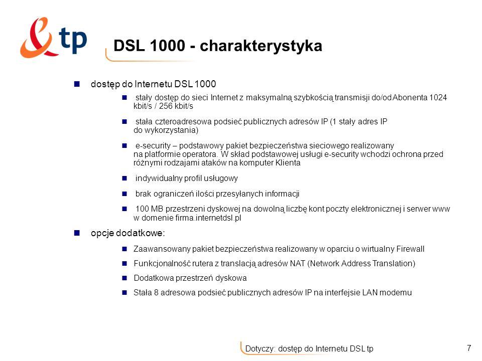 DSL 1000 - charakterystyka dostęp do Internetu DSL 1000
