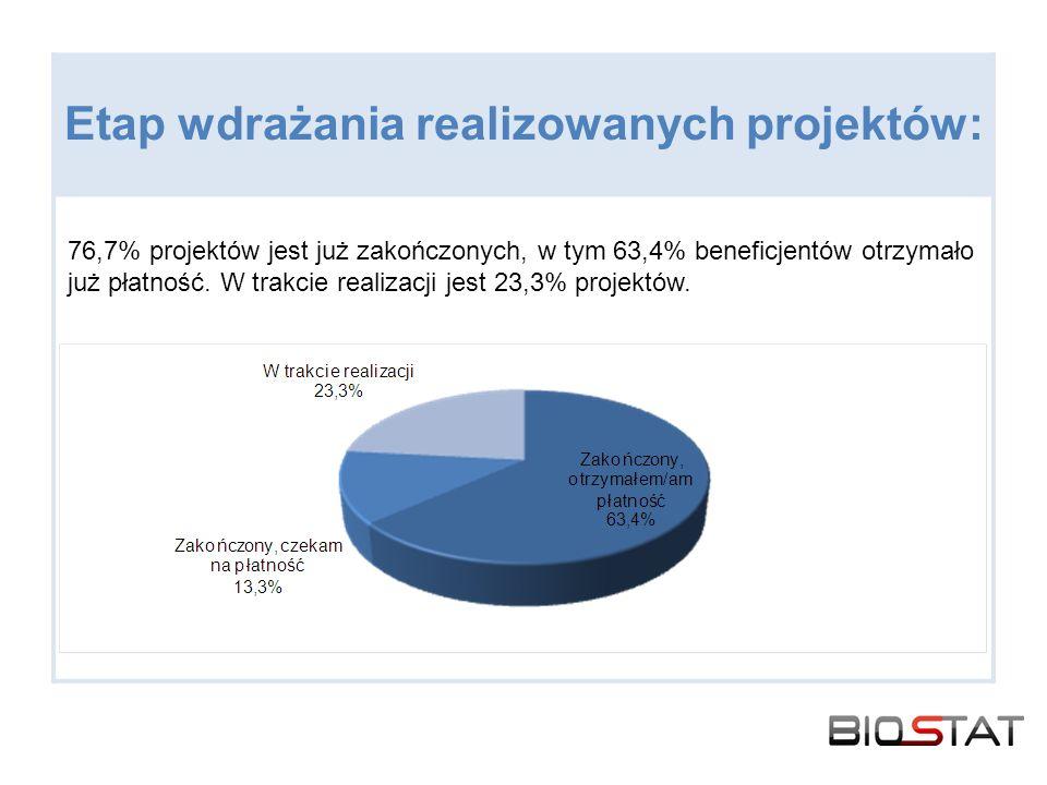 Etap wdrażania realizowanych projektów: