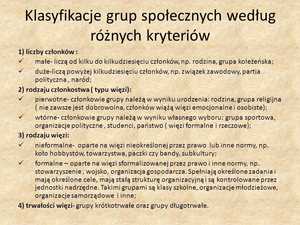 Klasyfikacje grup społecznych według różnych kryteriów