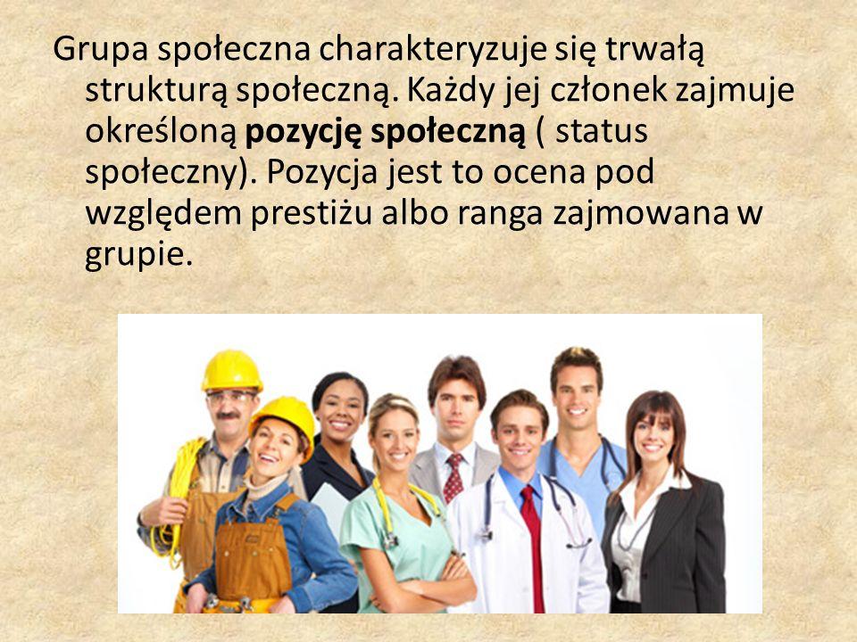 Grupa społeczna charakteryzuje się trwałą strukturą społeczną