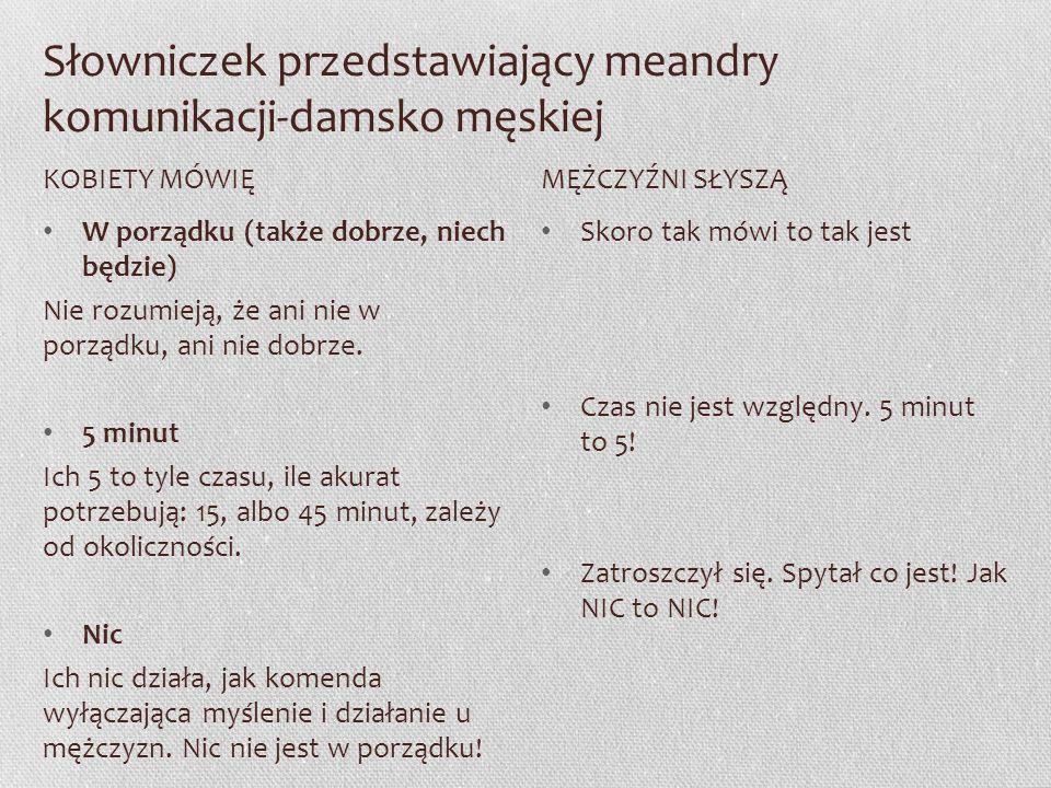 Słowniczek przedstawiający meandry komunikacji-damsko męskiej