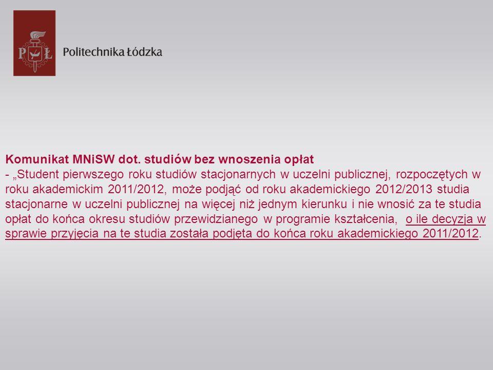 Komunikat MNiSW dot. studiów bez wnoszenia opłat