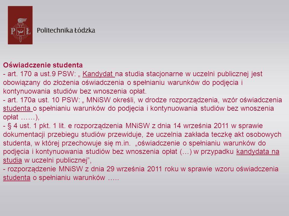 Oświadczenie studenta