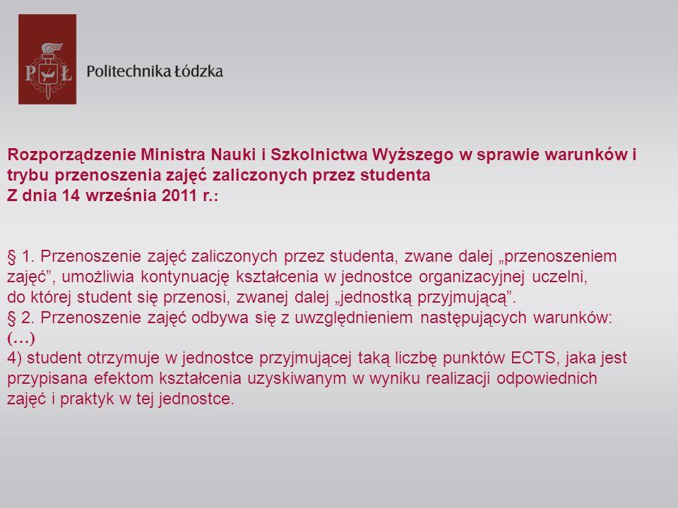 Rozporządzenie Ministra Nauki i Szkolnictwa Wyższego w sprawie warunków i trybu przenoszenia zajęć zaliczonych przez studenta