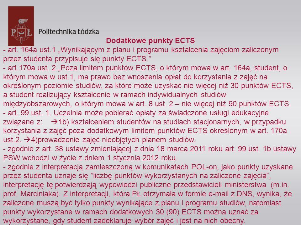 """Dodatkowe punkty ECTS - art. 164a ust.1 """"Wynikającym z planu i programu kształcenia zajęciom zaliczonym przez studenta przypisuje się punkty ECTS."""