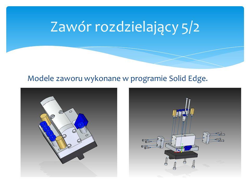 Zawór rozdzielający 5/2 Modele zaworu wykonane w programie Solid Edge.