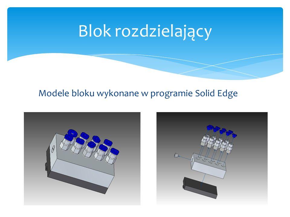 Blok rozdzielający Modele bloku wykonane w programie Solid Edge