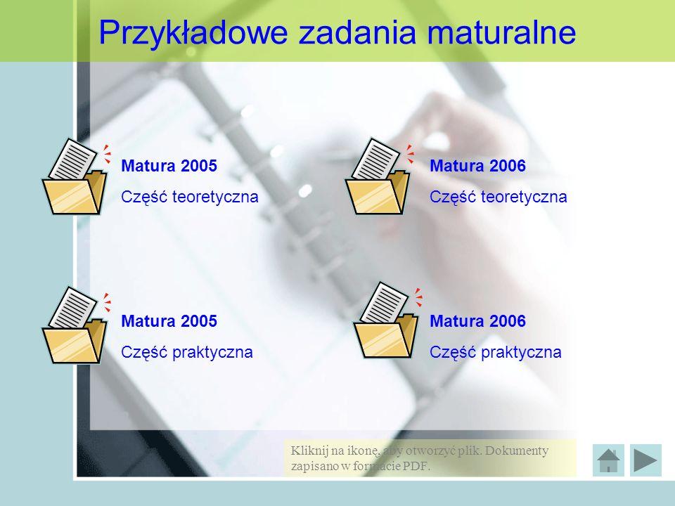 Przykładowe zadania maturalne