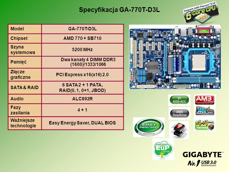 Dwa kanały 4 DIMM DDR3 (1600)/1333/1066 Easy Energy Saver, DUAL BIOS