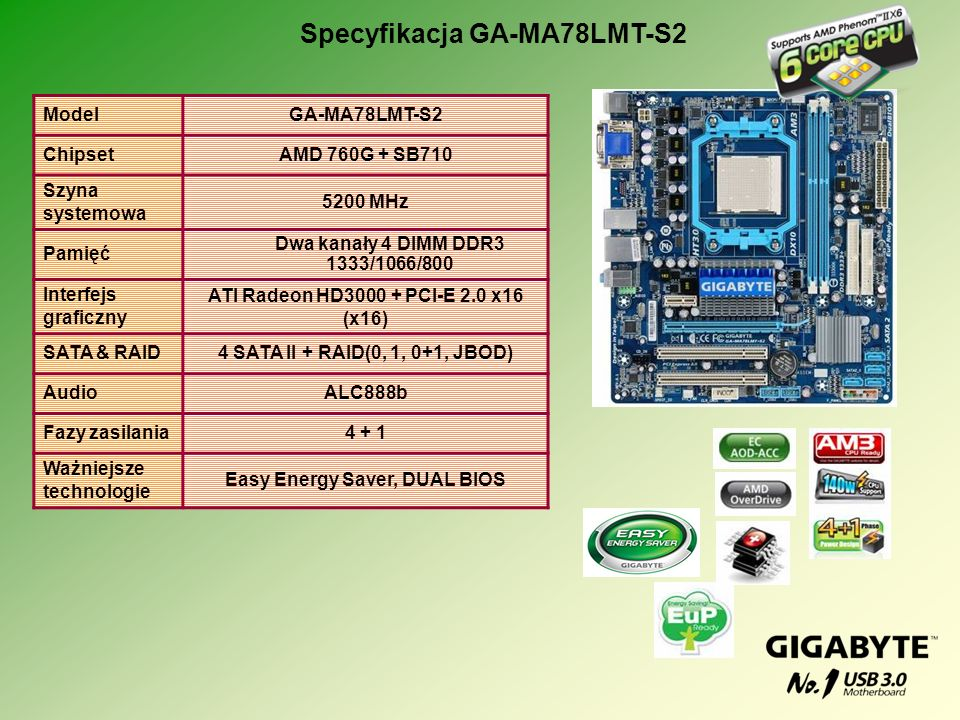 Specyfikacja GA-MA78LMT-S2