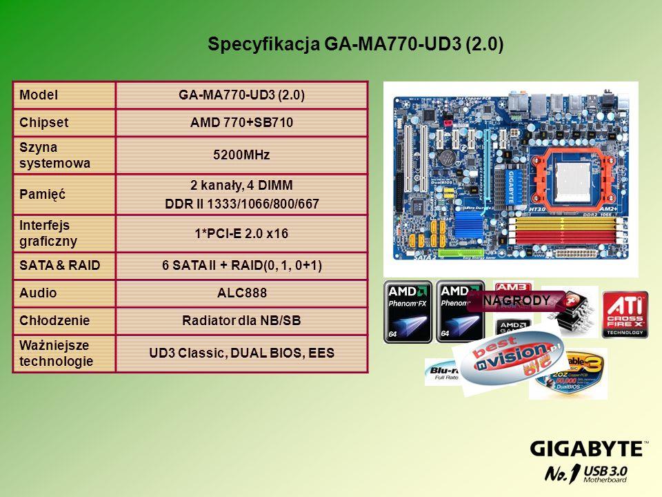 Specyfikacja GA-MA770-UD3 (2.0) UD3 Classic, DUAL BIOS, EES