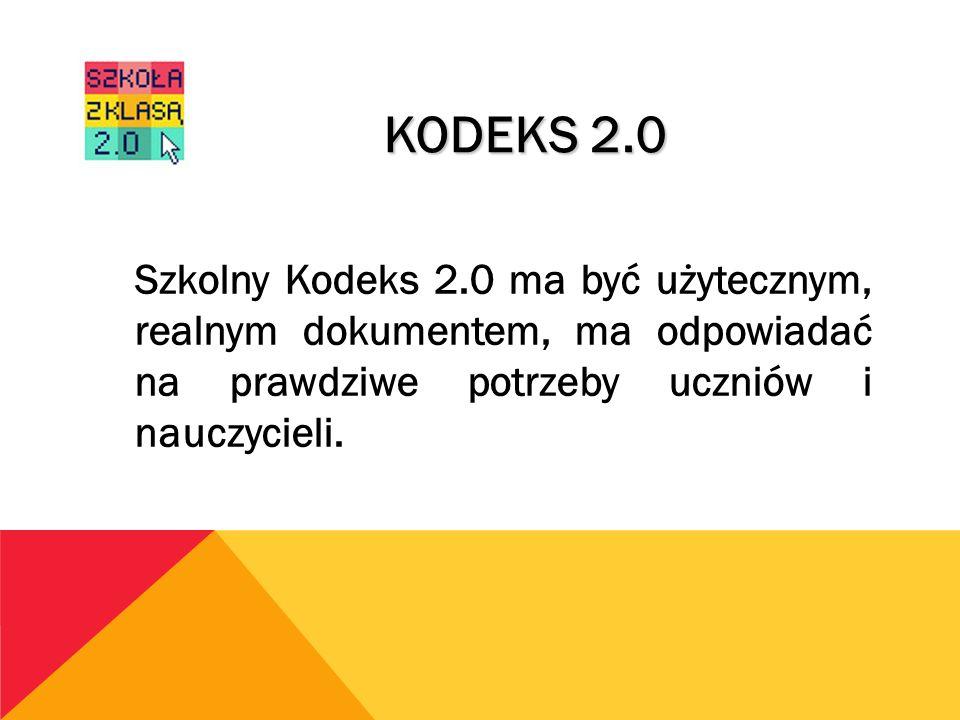 KODEKS 2.0 Szkolny Kodeks 2.0 ma być użytecznym, realnym dokumentem, ma odpowiadać na prawdziwe potrzeby uczniów i nauczycieli.