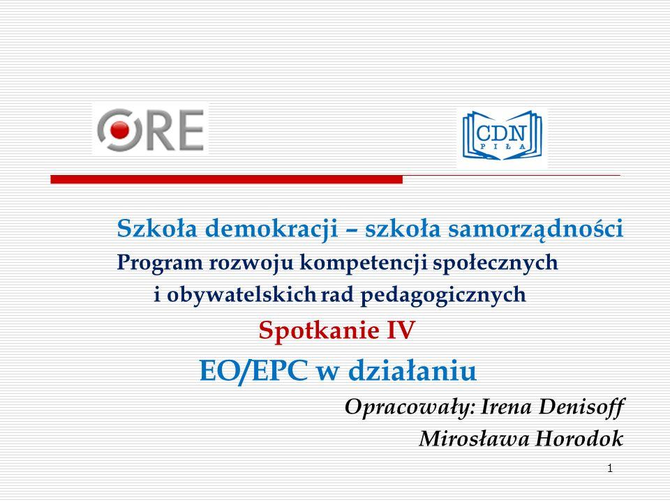 EO/EPC w działaniu Szkoła demokracji – szkoła samorządności