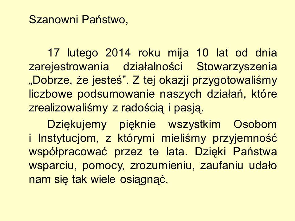 """Szanowni Państwo, 17 lutego 2014 roku mija 10 lat od dnia zarejestrowania działalności Stowarzyszenia """"Dobrze, że jesteś ."""