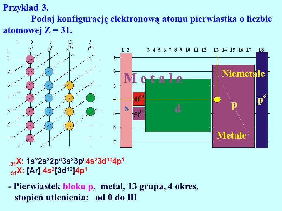 Przykład 3. Podaj konfigurację elektronową atomu pierwiastka o liczbie atomowej Z = 31. 31X: 1s22s22p63s23p64s23d104p1.