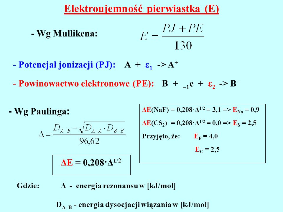 Elektroujemność pierwiastka (E)