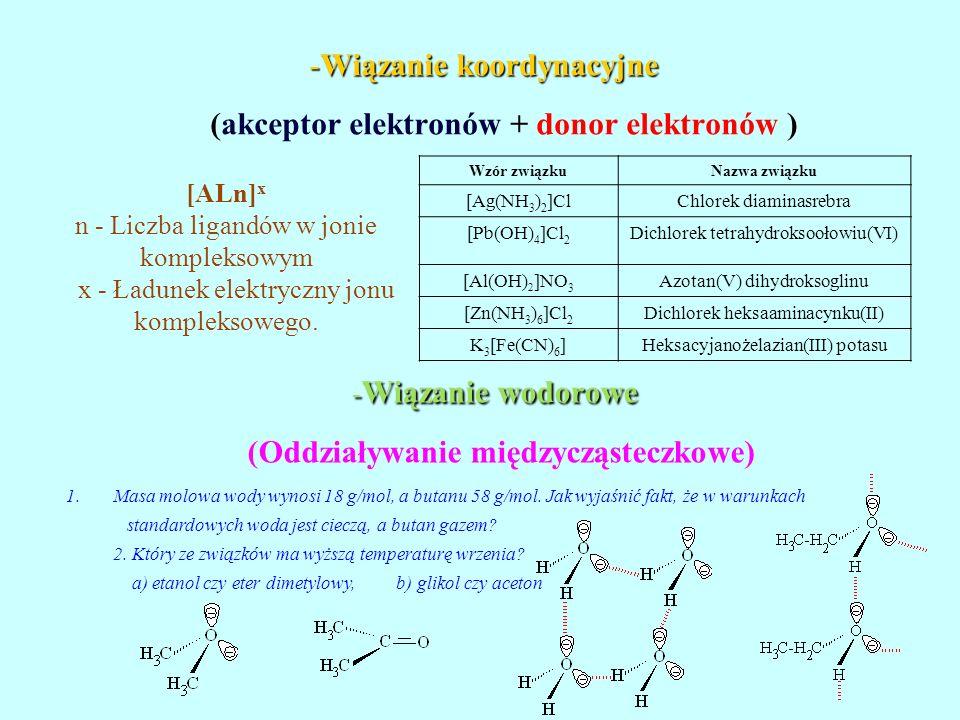 Wiązanie koordynacyjne (akceptor elektronów + donor elektronów )