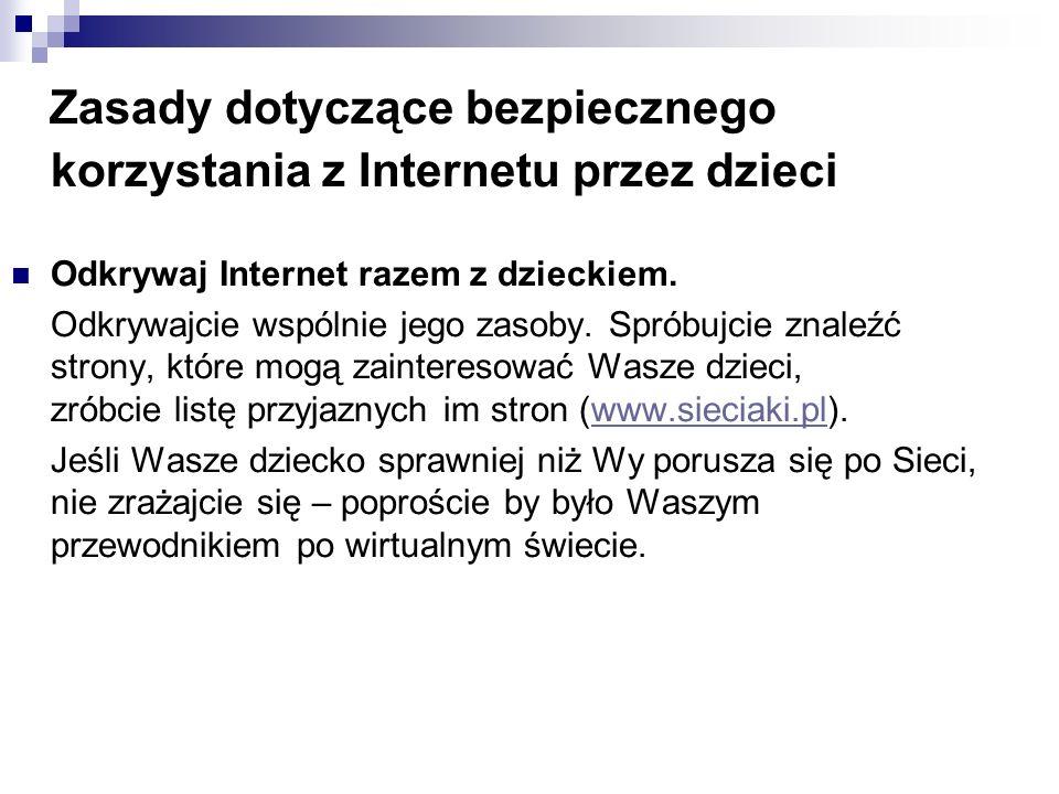 Zasady dotyczące bezpiecznego korzystania z Internetu przez dzieci