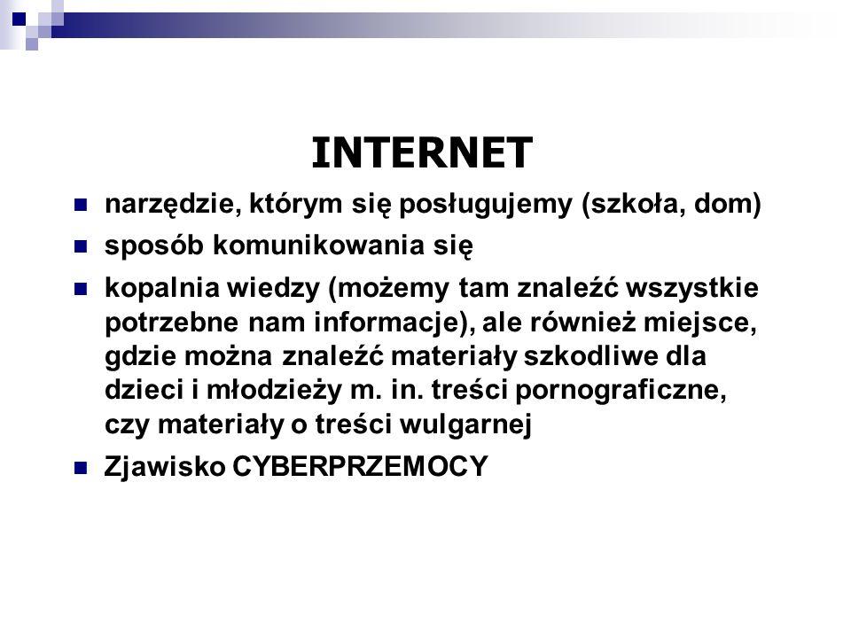 INTERNET narzędzie, którym się posługujemy (szkoła, dom)