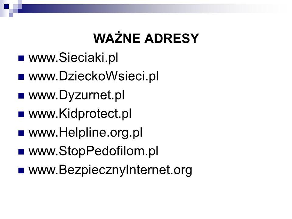 WAŻNE ADRESY www.Sieciaki.pl. www.DzieckoWsieci.pl. www.Dyzurnet.pl. www.Kidprotect.pl. www.Helpline.org.pl.