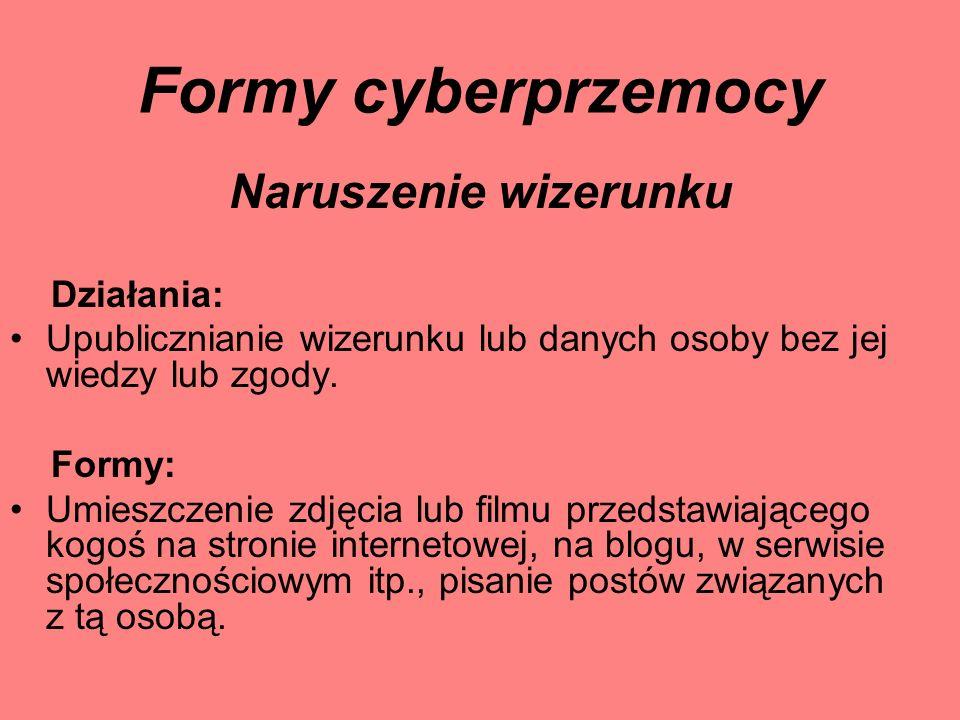 Formy cyberprzemocy Naruszenie wizerunku Działania: