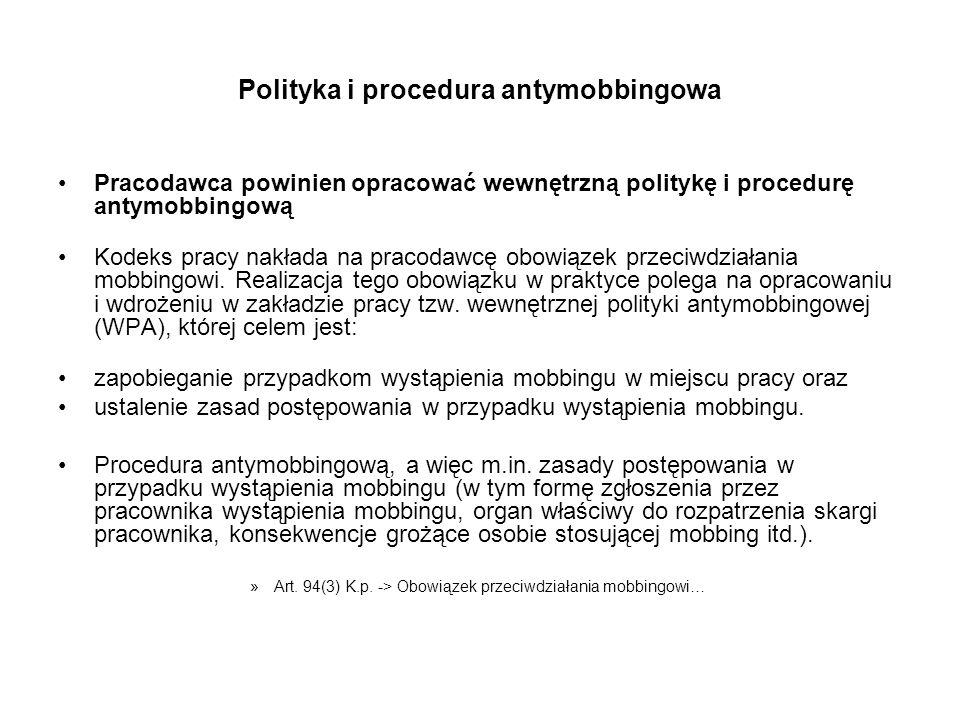 Polityka i procedura antymobbingowa