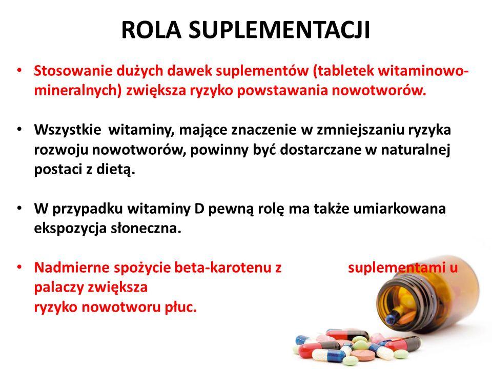 ROLA SUPLEMENTACJI Stosowanie dużych dawek suplementów (tabletek witaminowo-mineralnych) zwiększa ryzyko powstawania nowotworów.