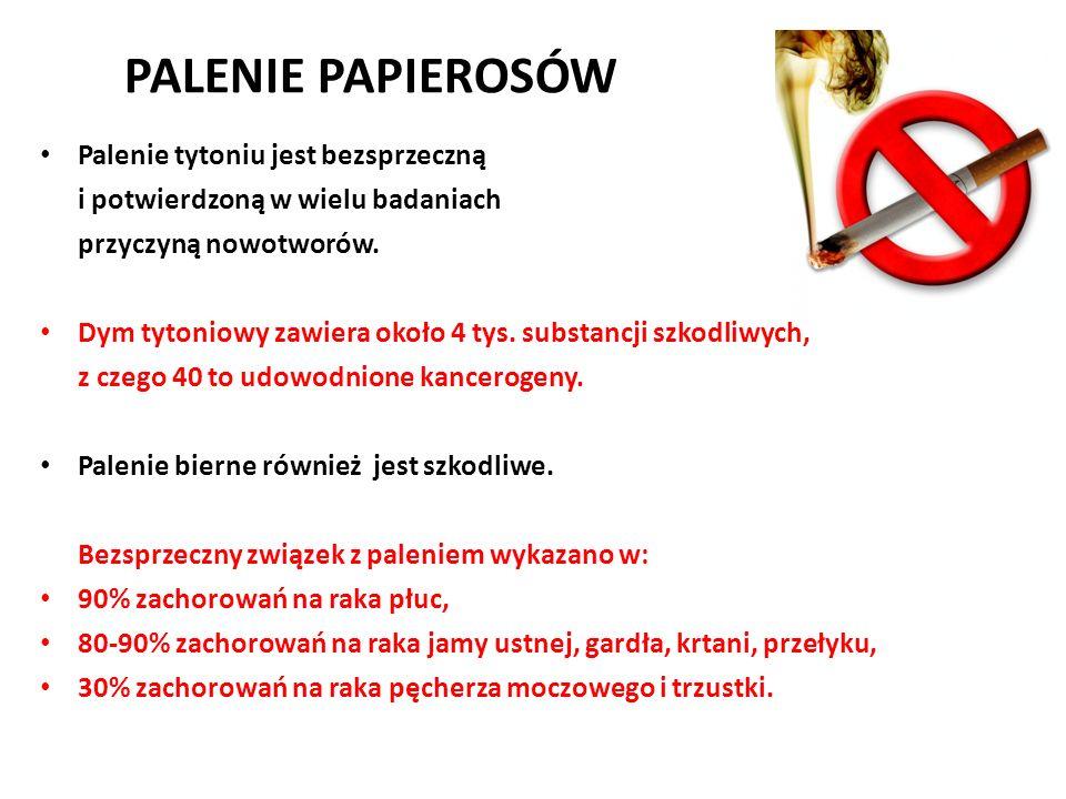 PALENIE PAPIEROSÓW Palenie tytoniu jest bezsprzeczną