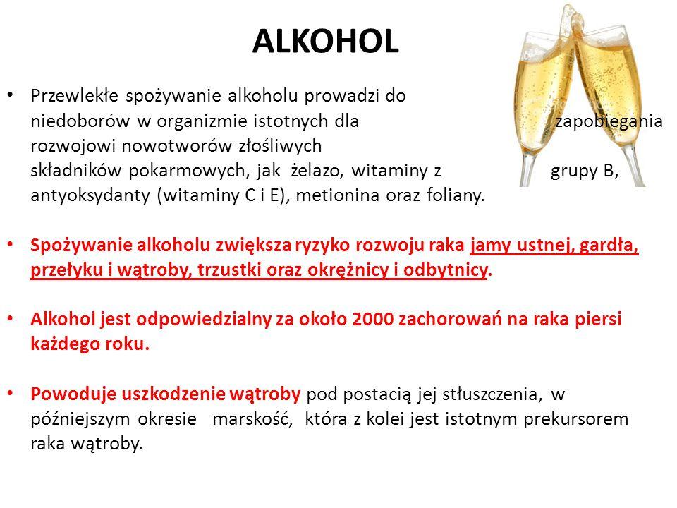 ALKOHOL Przewlekłe spożywanie alkoholu prowadzi do