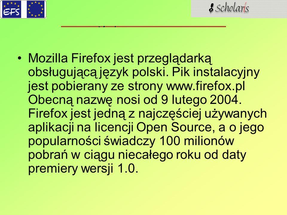 Mozilla Firefox jest przeglądarką obsługującą język polski