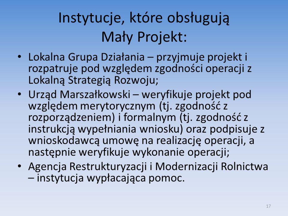 Instytucje, które obsługują Mały Projekt:
