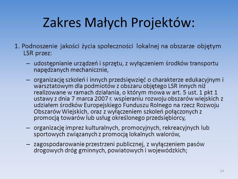 Zakres Małych Projektów: