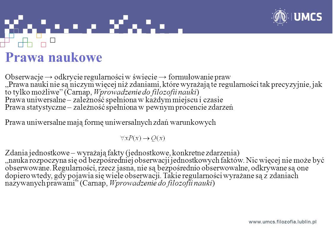 Prawa naukowe Obserwacje → odkrycie regularności w świecie → formułowanie praw.