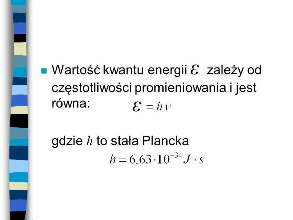 Wartość kwantu energii ε zależy od częstotliwości promieniowania i jest równa: