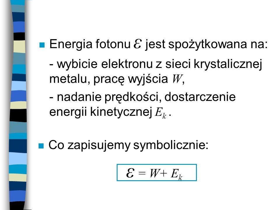 ε = W+ Ek Energia fotonu ε jest spożytkowana na: