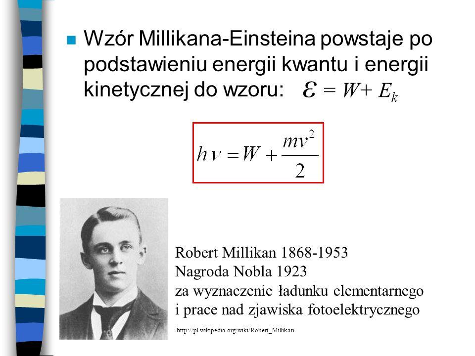 Wzór Millikana-Einsteina powstaje po podstawieniu energii kwantu i energii kinetycznej do wzoru: