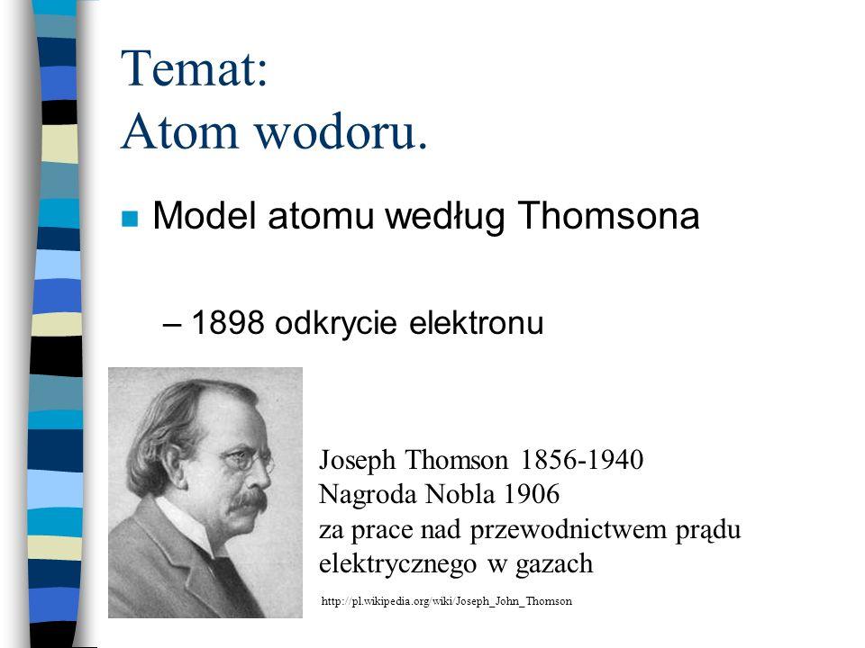 Temat: Atom wodoru. Model atomu według Thomsona