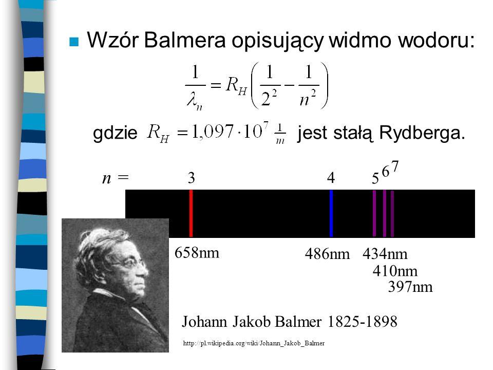 Wzór Balmera opisujący widmo wodoru: