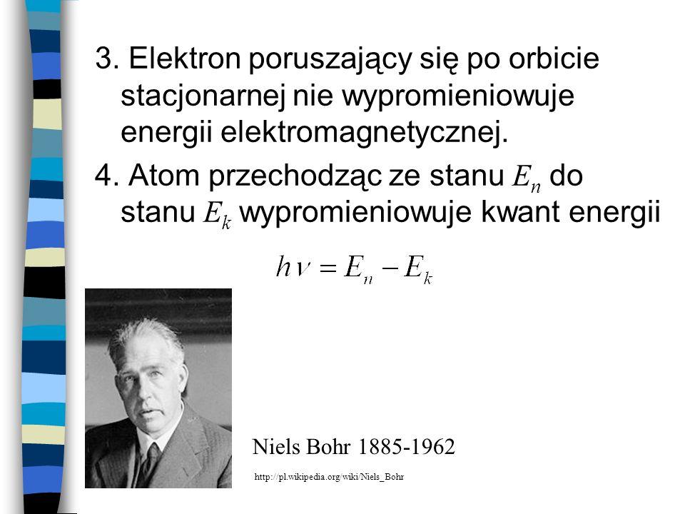 3. Elektron poruszający się po orbicie stacjonarnej nie wypromieniowuje energii elektromagnetycznej.
