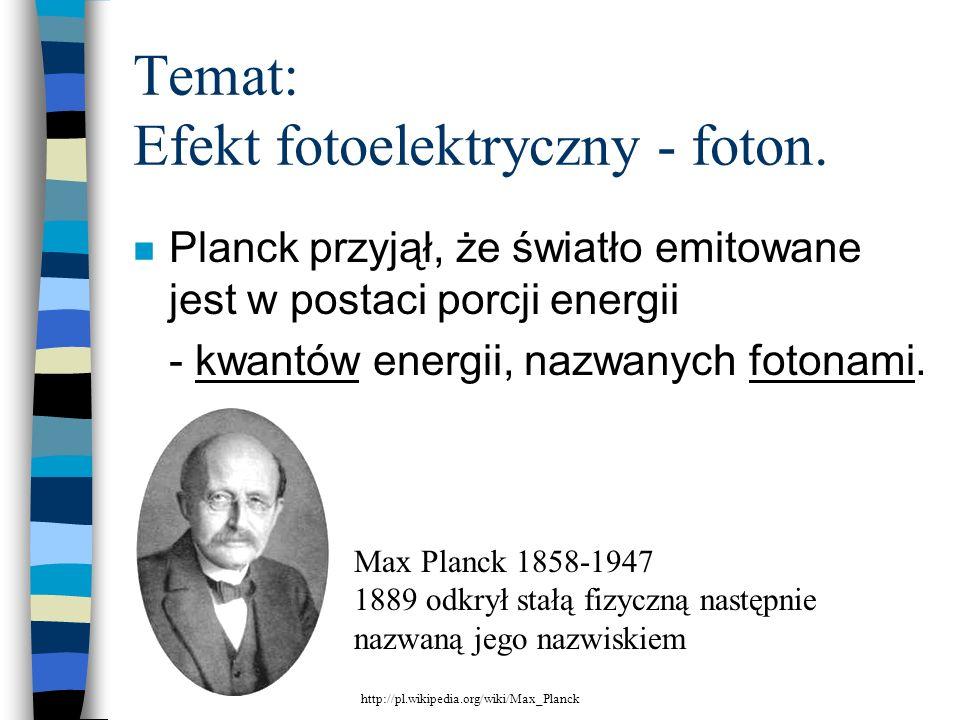 Temat: Efekt fotoelektryczny - foton.