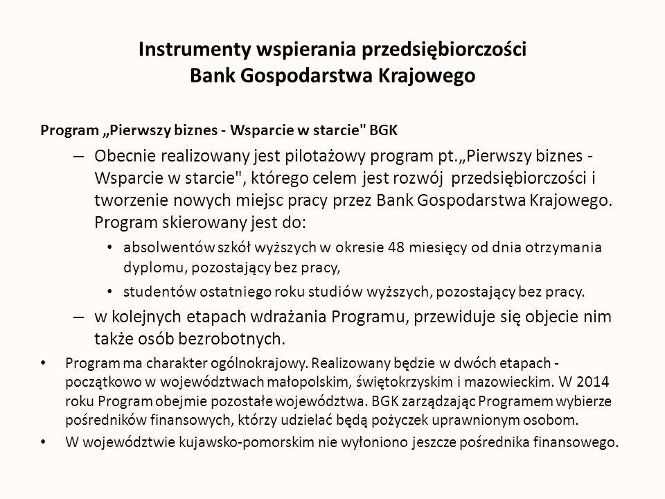 Instrumenty wspierania przedsiębiorczości Bank Gospodarstwa Krajowego