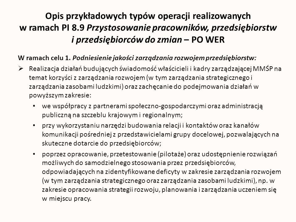 Opis przykładowych typów operacji realizowanych w ramach PI 8