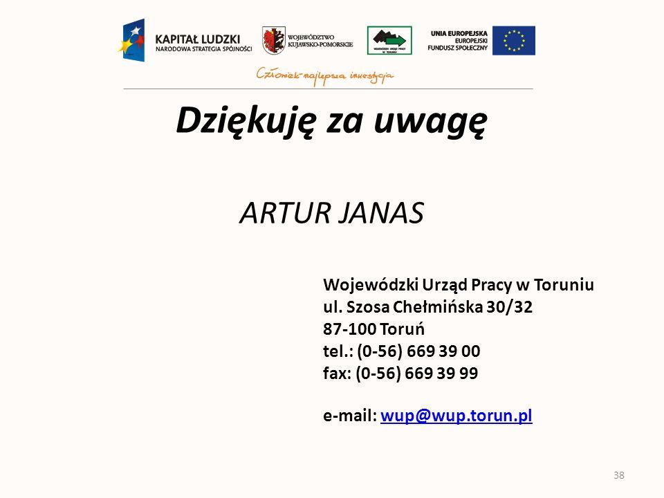 Dziękuję za uwagę ARTUR JANAS Wojewódzki Urząd Pracy w Toruniu