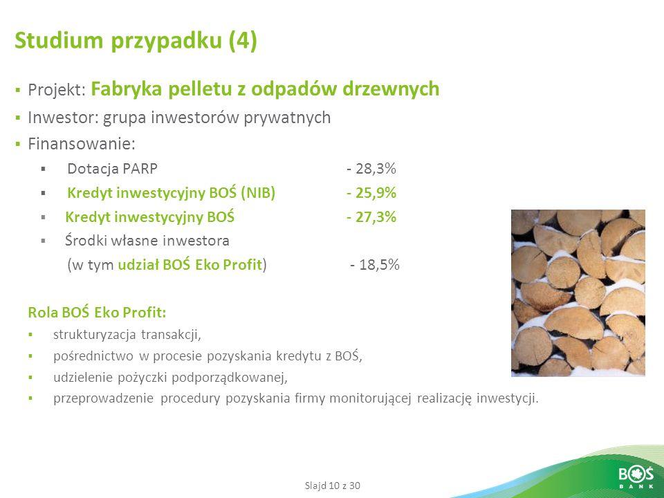 Studium przypadku (4) Projekt: Fabryka pelletu z odpadów drzewnych