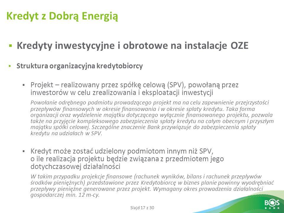 Kredyt z Dobrą Energią Kredyty inwestycyjne i obrotowe na instalacje OZE. Struktura organizacyjna kredytobiorcy.