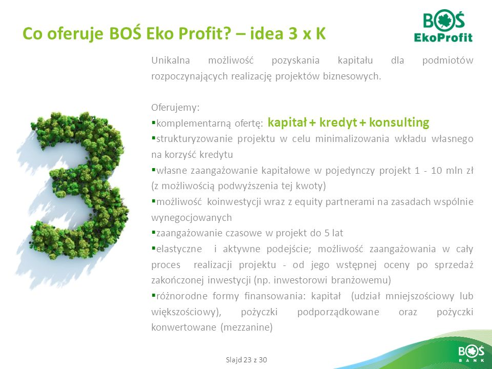 Co oferuje BOŚ Eko Profit – idea 3 x K