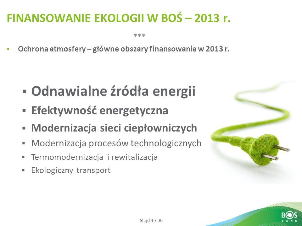 FINANSOWANIE EKOLOGII W BOŚ – 2013 r.