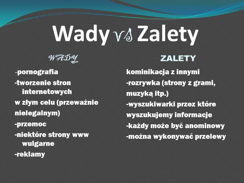 Wady vs Zalety WADY ZALETY